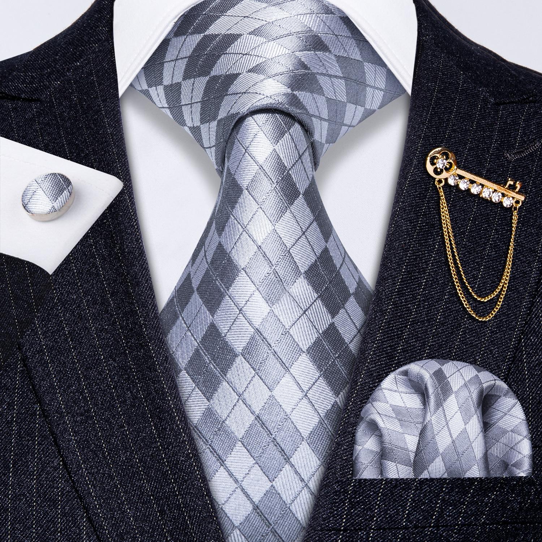 Fashion Grey Blue Stripe Wedding Prom Party Business Office Formal Men Necktie