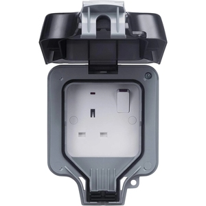 Image 2 - Presa a muro elettrica impermeabile esterno 13Amp Storm commutato 2 Gang UK IP66 uso esterno prese doppie Masterplug