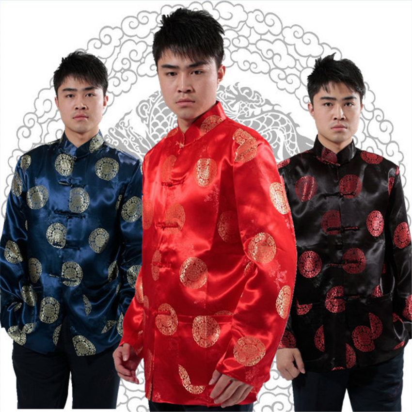6Color Traditional Chinese Clothing For Men Tops Tangsuit Long Sleeve Shirt New Year Cheongsam Jacket Man Retro Clothes S-3XL