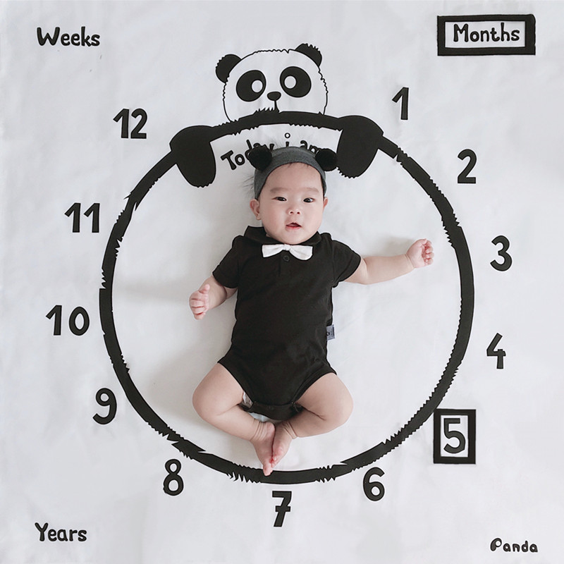 Baby Milestone Blanket Panda Print Photography Week Monthly Growth Background Cloth Boys Girls Kids Camera Shooting Props