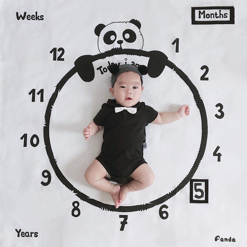 Baby Milestone Blanket Panda Print Photography Week Monthly Growth Background Cloth Boys Girls Kids Camera Shooting Props