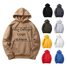 Euro Size Fashion Men's Hoodies Sweatshirts 2019 Custom Customize Logo Personalized Two Sides Print Text Male Hooded Pullover(China)