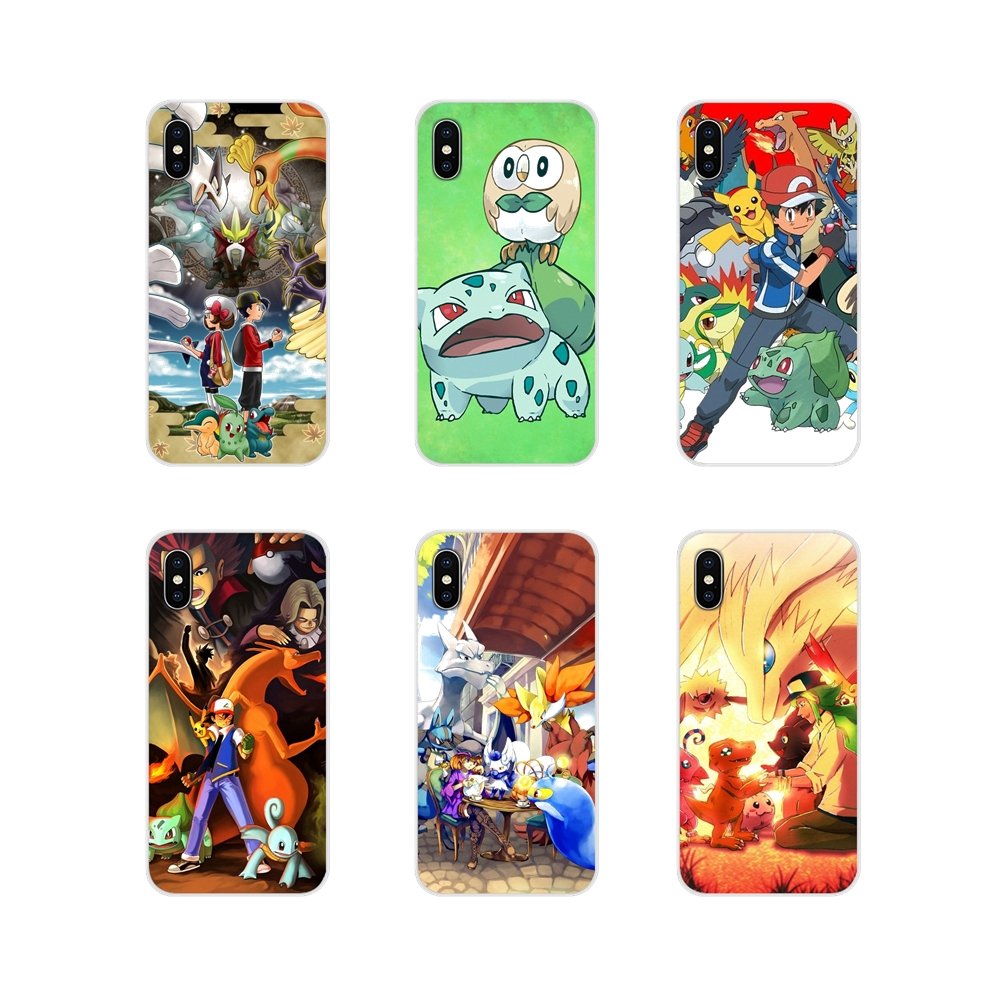 TPU Case For Apple iPhone X XR XS 11Pro MAX 4S 5S 5C SE 6S 7 8 Plus ipod touch 5 6 cartoon Pokemons Bulbasaur fire type starters image