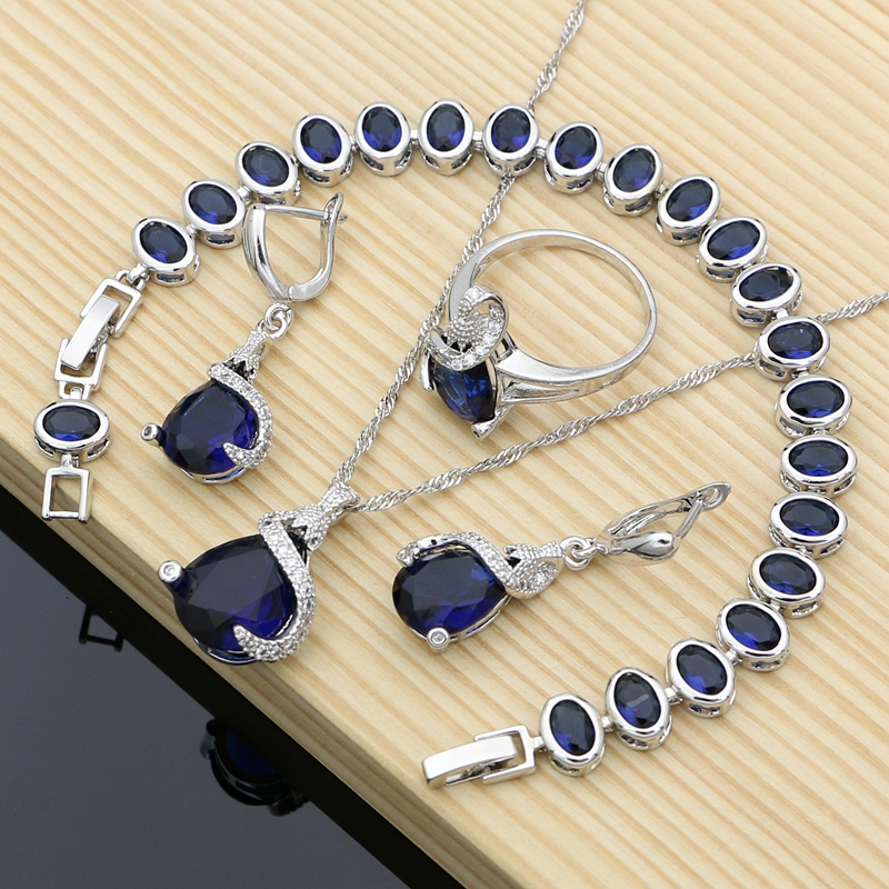 Jewelry-Kits Necklace-Set Costume Zircon Silver Natural Blue Women
