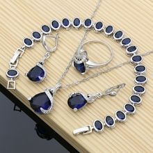 Silver 925 Jewelry Sets Blue Natural Zircon Costume Jewelry Kits indian Jewelry For Women Necklace Set