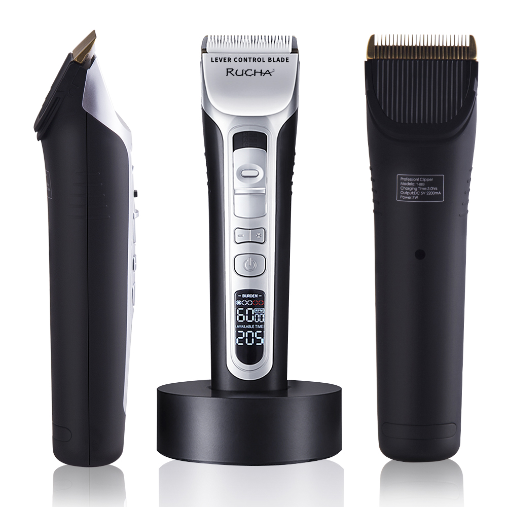 RUCHA Barber Electric Hair Clipper Rechargeable Hair Trimmer Titanium Ceramic Blade LCD Display Salon Men Hair