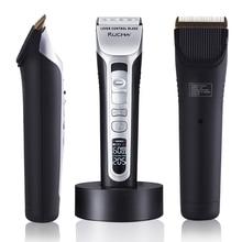 RUCHA Парикмахерская электрическая машинка для стрижки волос перезаряжаемая машинка для стрижки волос титановое керамическое лезвие ЖК-дисплей салон для мужчин машинка для стрижки волос