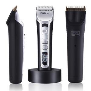Мужская машинка для стрижки волос LRUCHA, перезаряжаемая электрическая машинка для волос, триммер с титановыми и керамическими лезвиями, ЖК-эк...
