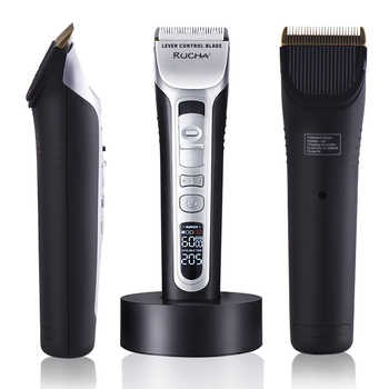 RUCHA Barber Electric Hair Clipper Rechargeable Hair Trimmer Titanium Ceramic Blade LCD Display Salon Men Hair Cutting Machine - DISCOUNT ITEM  45% OFF All Category