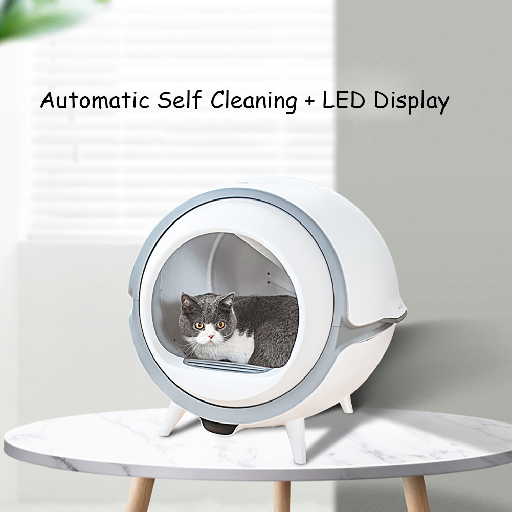 Automatic Self Cleaning Cat Litter Box UV Sterilization Smart  Pet Toilet Tray with Surgical Mask LED Display Ultra Quitetty