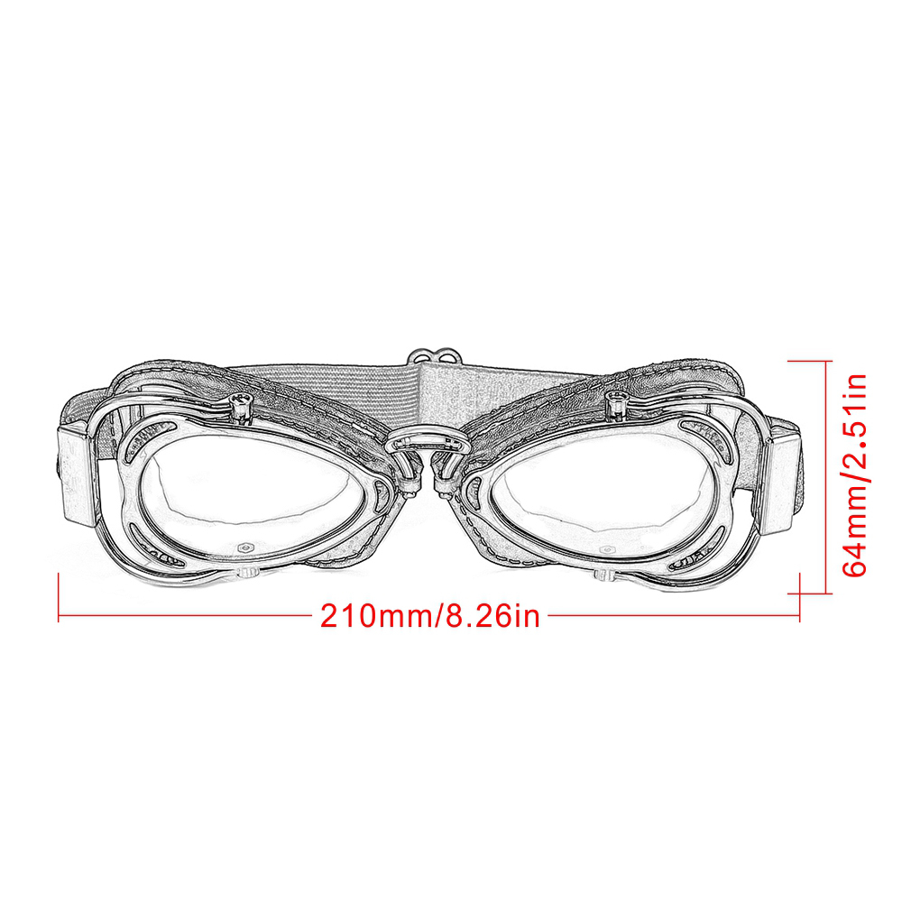 lowest price Universal Motorcycle Vintage Goggles Pilot Motorbike Scooter Biker Glasses Steampunk Goggles For Moto Helmet