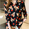 Women Chiffon Shirts Retro Single-breasted Long Sleeve Floral Painted Turn Down Collar Blusas Top 2021 New Spring Female Blouses 3