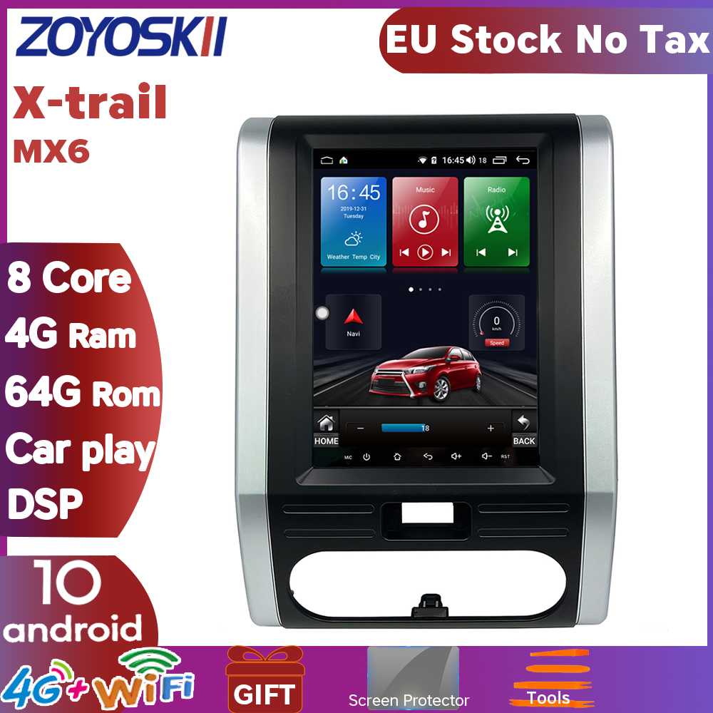 ZOYOSKII Android 9.0 OS 10.4 Inch Vetical Screen Car Gps Multimedia Radio Navigation Player For Nissan Xtrail MX6 X-trail T31
