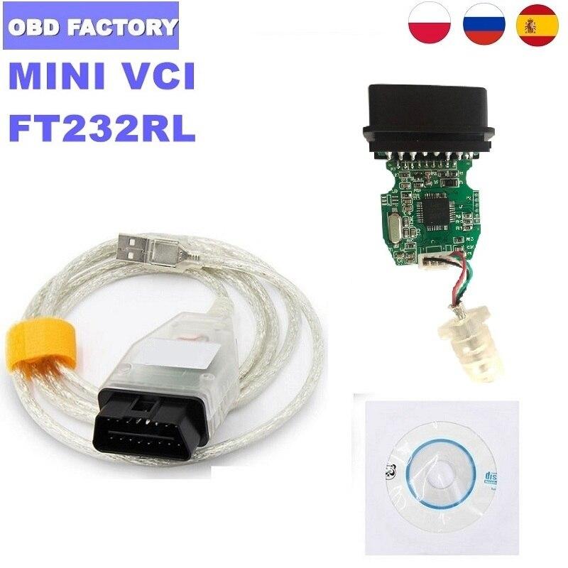 V15.00.028 J2534 MINI VCI для Toyota MINI VCI J2534 MINI-VCI FT232RL для Toyota TIS MINI VCI Techstream TIS Cable TIS Techstream