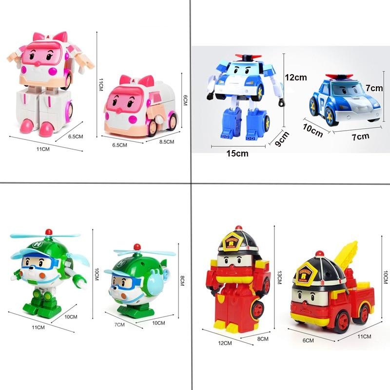 6 ədəd dəst Poli Car robot oyuncaq çevirmə vasitəsi cizgi filmi - Oyuncaq nəqliyyat vasitələri - Fotoqrafiya 6