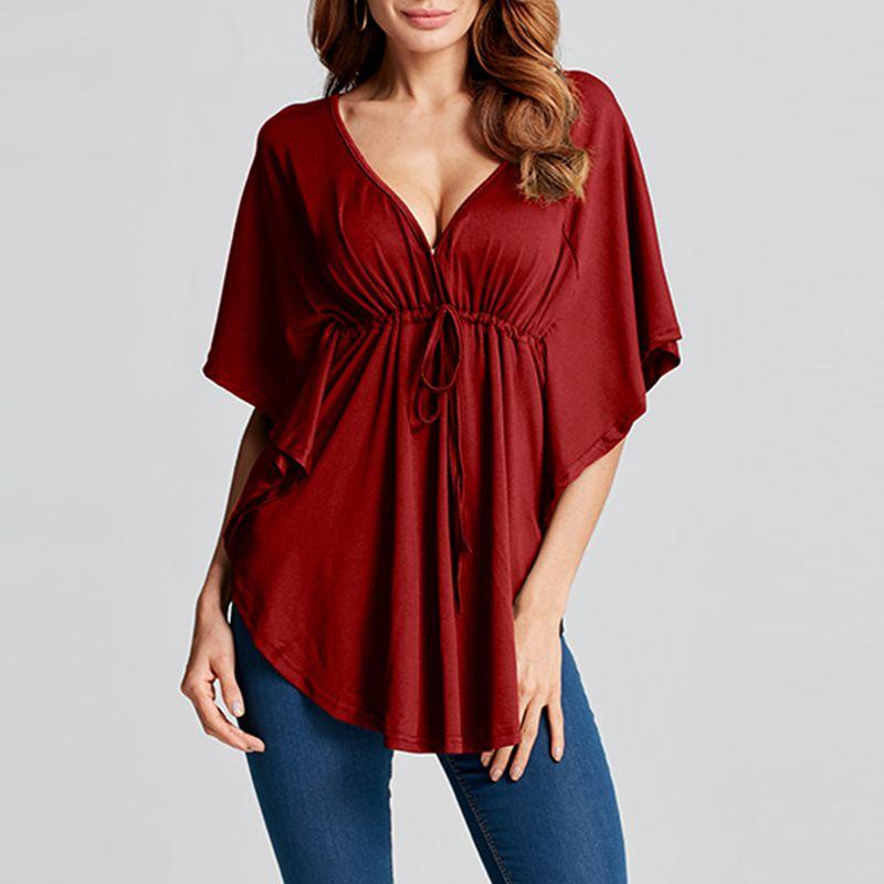 Sexy Deep V-Neck Tops Women ZANZEA Summer Casual Ruffles Shirts Female High Waist Asymmetrical Blouses Plus Size Blusas Mujer 7