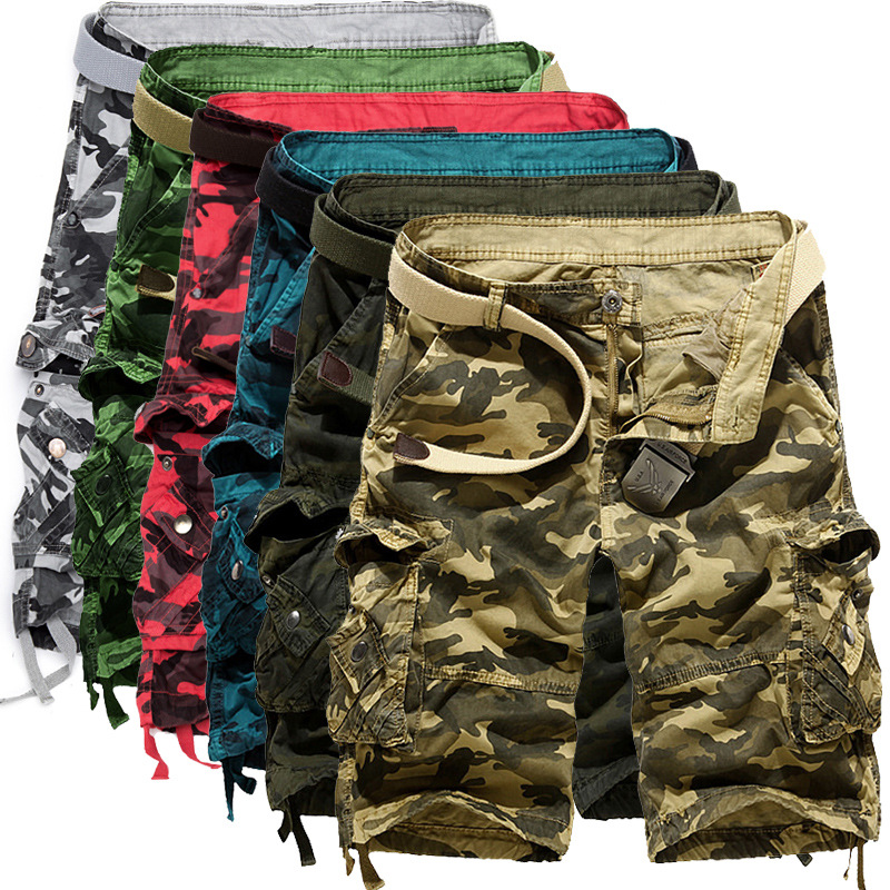 Summer Wear Hot Selling Men Loose Casual Camouflage Bib Overall Large Size Multi-pockets Short Shorts MEN'S Beach Shorts