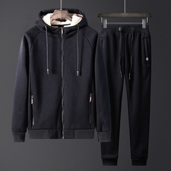 Men's winter new lambskin sweater coat 125kg tide fat plus velvet thick warm plus fertilizer plus code Wei pants casual sports