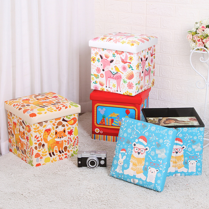 Hot Selling Cartoon CHILDREN'S Toy Storage Chair Folding Multi-functional Storage Stool Box Leather Finishing Box Manufacturers