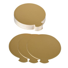 Promotion! 200 Pcs Mini 3.1 inch Cake Boards, Small Round Gold Mousse Cake Cardboard Set, Cupcake Cake Base, Dessert Displays Tr(China)