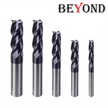 BEYOND Free Shipping Endmill Cutting HRC50 4 Flute 3mm 5mm 6mm 18mm 20mm Alloy Carbide Tungsten Steel Milling Cutter End Mill made in china yg8 20mm alloy balls tungsten carbide balls for machine measurement chemical industry petroleum gun