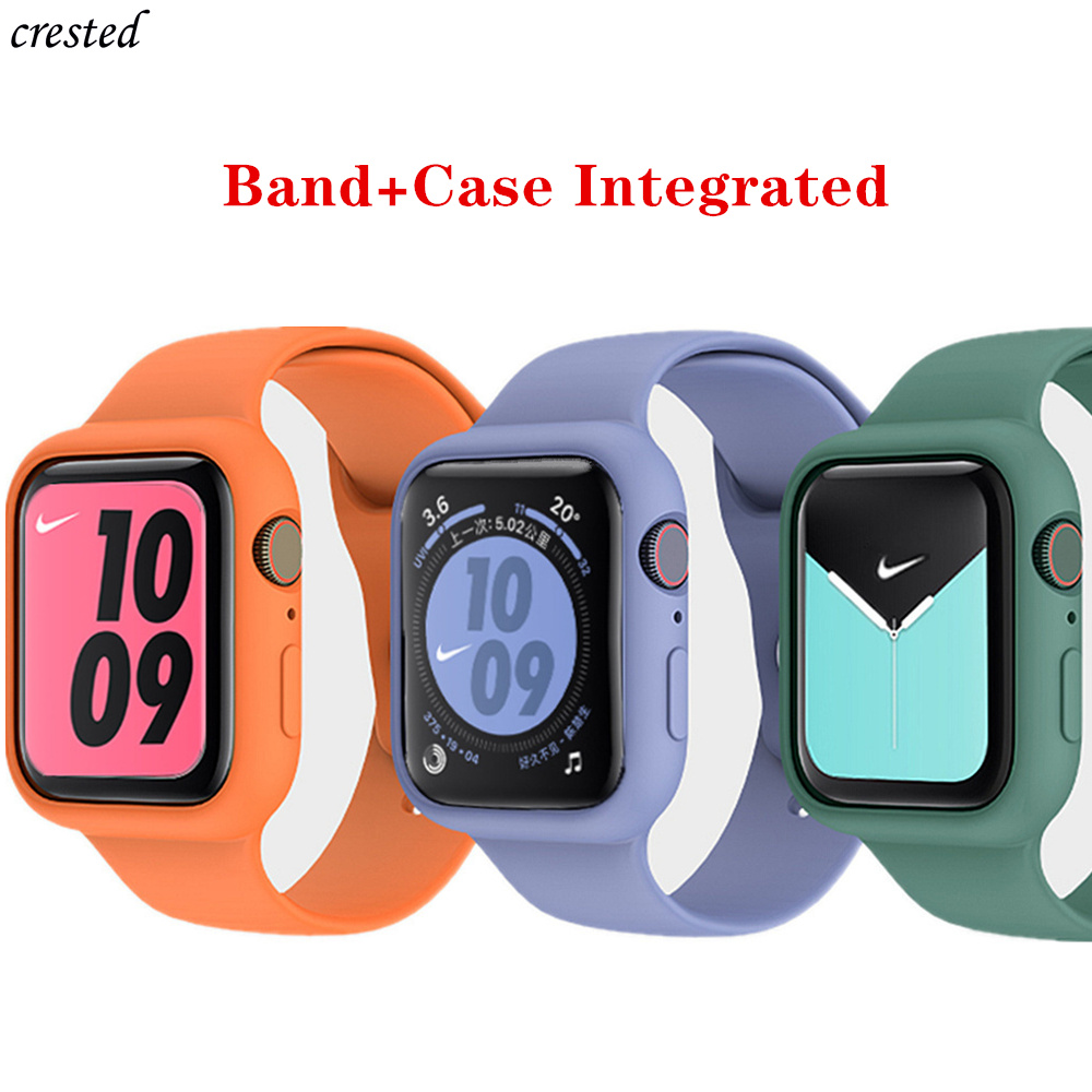 Case+strap For Apple Watch Band 44 Mm 40mm Iwatch Band 38mm 42mm Integrated Silicone Watchband Bracelet Apple Watch 5 4 3 2 1 38