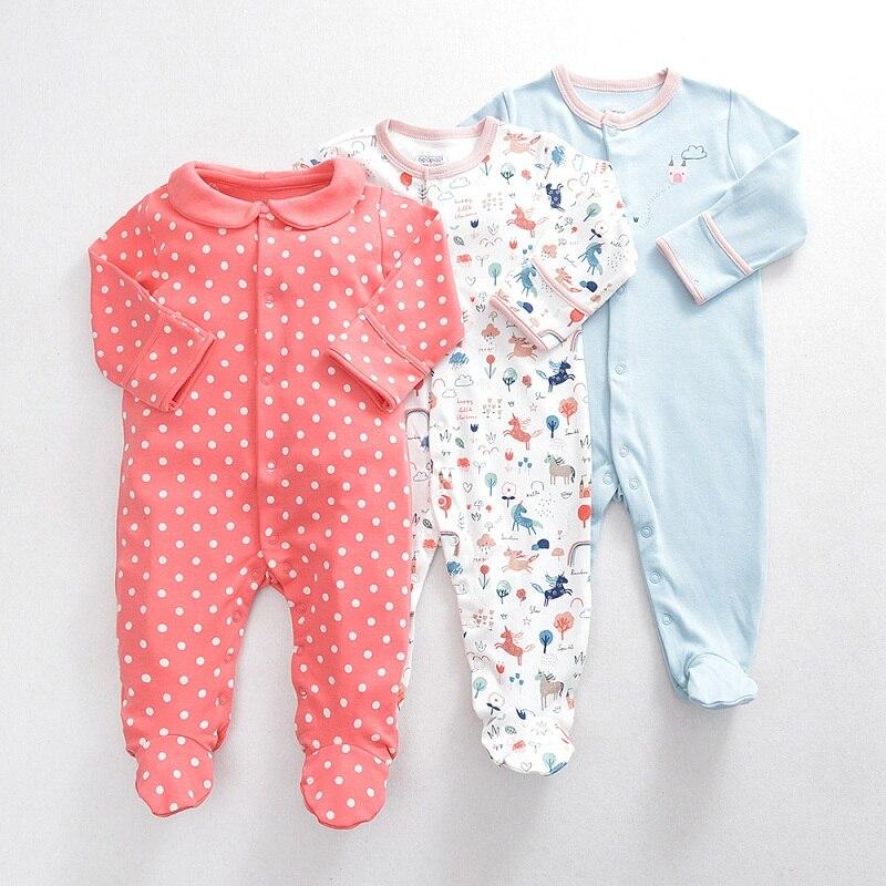 New Born Long Sleeve Jumpsuit Footies Newborn Baby Boy Girl Clothes 0-12 Month Pyjama Unisex Costume O-neck Cotton 2019 Fall