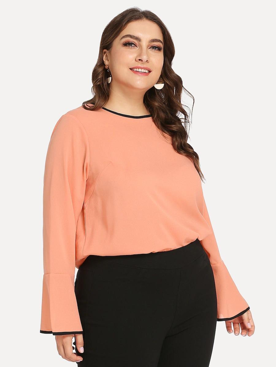 2019 الصيف جديد الوردي الشيفون طويلة الأكمام س الرقبة التي شيرت النساء الملابس t قميص زائد حجم 5xl xxxxl عارضة خمر تي شيرت قمم