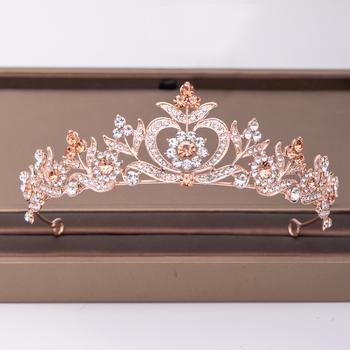 Modne różowe złoto Rhinestone korona kwiat ślubne akcesoria do włosów ślubne nakrycie głowy ozdoby do włosów włosy ślubne biżuteria diadem tanie i dobre opinie AiliBride CN (pochodzenie) Miedzi Moda Kryształ Tiary Kobiety TRENDY Hairwear PLANT