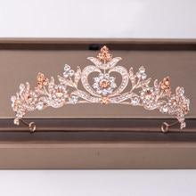 Na moda ouro rosa strass coroa flor acessórios de cabelo nupcial casamento headpiece ornamentos cabelo noiva jóias coroa tiara
