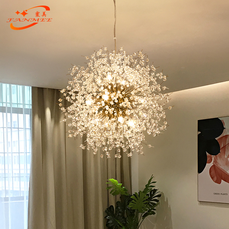 Ha4e9c9c47782427d83376b43191b0603v Modern LED Crystal Chandelier Light Pendant Hanging Lamp Dandelion Cristal Chandelier Lighting for Living Dining Room Decoration