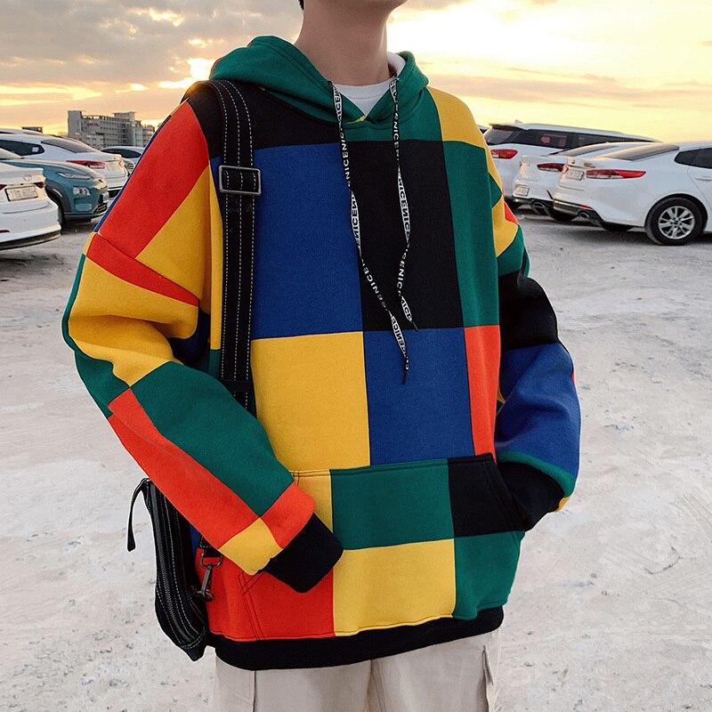 Autumn Plaid Hoodies Men Fashion Contrast Color Casual Hooded Sweatshirt Men Streetwear Wild Loose Hip Hop Hoodie Man Hoody