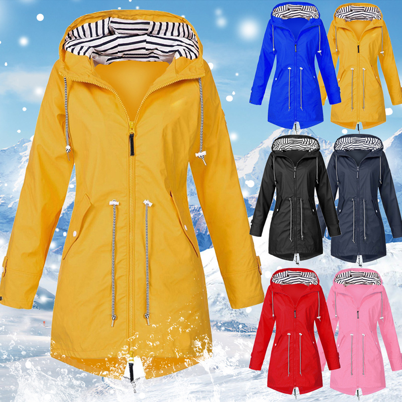 Windproof Jacket Coat Outdoor Sport Women Camping Zipper Plus-Size Autumn