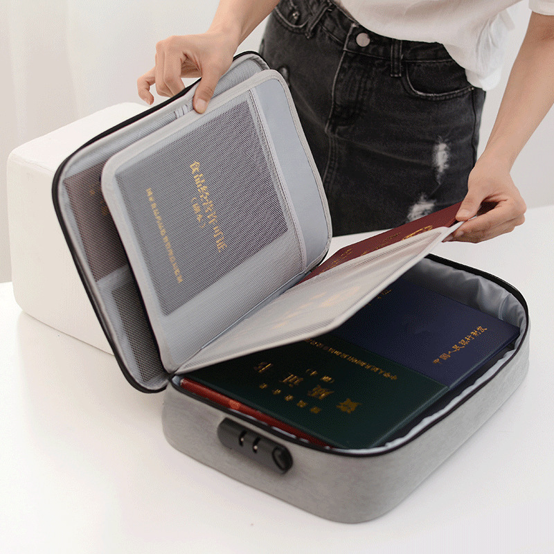Document Bag Large Capacity Men's Business Waterproof Storage Pack Travel Passport Wallet Card Organizer Home Accessories Item