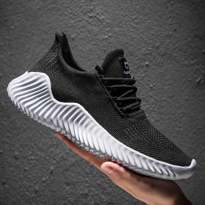 Yeni moda erkekler rahat ayakkabılar örgü nefes Sneakers yürüyüş erkek ayakkabı sıcak satış rahat hafif ayakkabı büyük boy 47