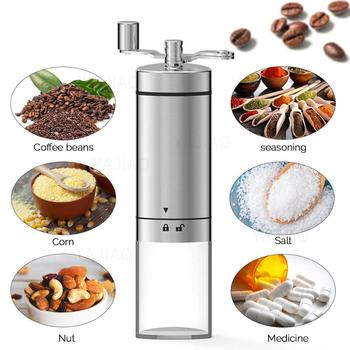 YAJIAO Portable Manual Coffee Grinder Transparent Stainless Steel Hand Crank Coffee Machine for Travel, Camping, Backpacking 6