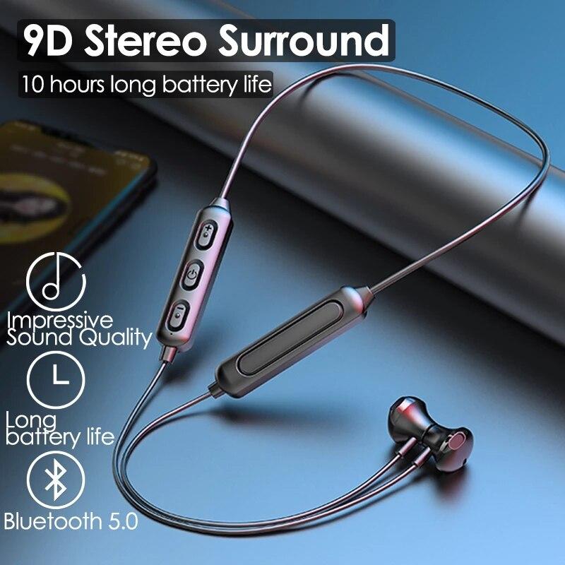 Магнитные беспроводные наушники Bluetooth 5,0, Спортивная стереогарнитура с шейным ободом, наушники-вкладыши, наушники с микрофоном для всех тел...