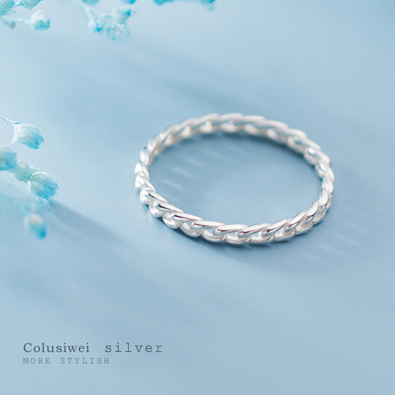 Colusiwei Genuine 925 Sterling Silver Simple Stackable Twist Finger Rings for Women Fashion Chain Link Female Band Fine Jewelry