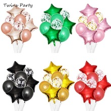 Twins 9pcs Baby Shower Boy Girl Confetti Latex Balloons Happy Birthday Balloon Love Foil Blue Pink Helium Ballons