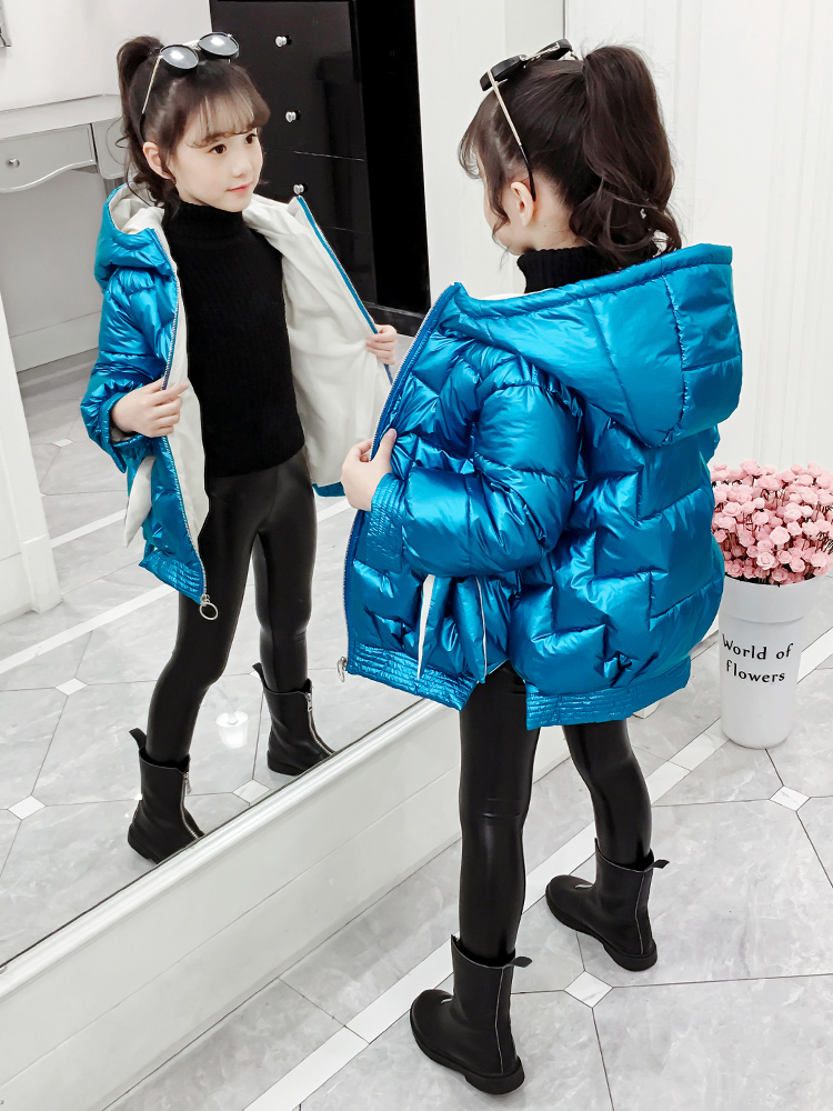 New Fashion Girls Winter Jacket Outwear Hooded Girl's Parkas Glossy Warm Kids Down Coat Solid Children Snowsuit 3-12 Years Old
