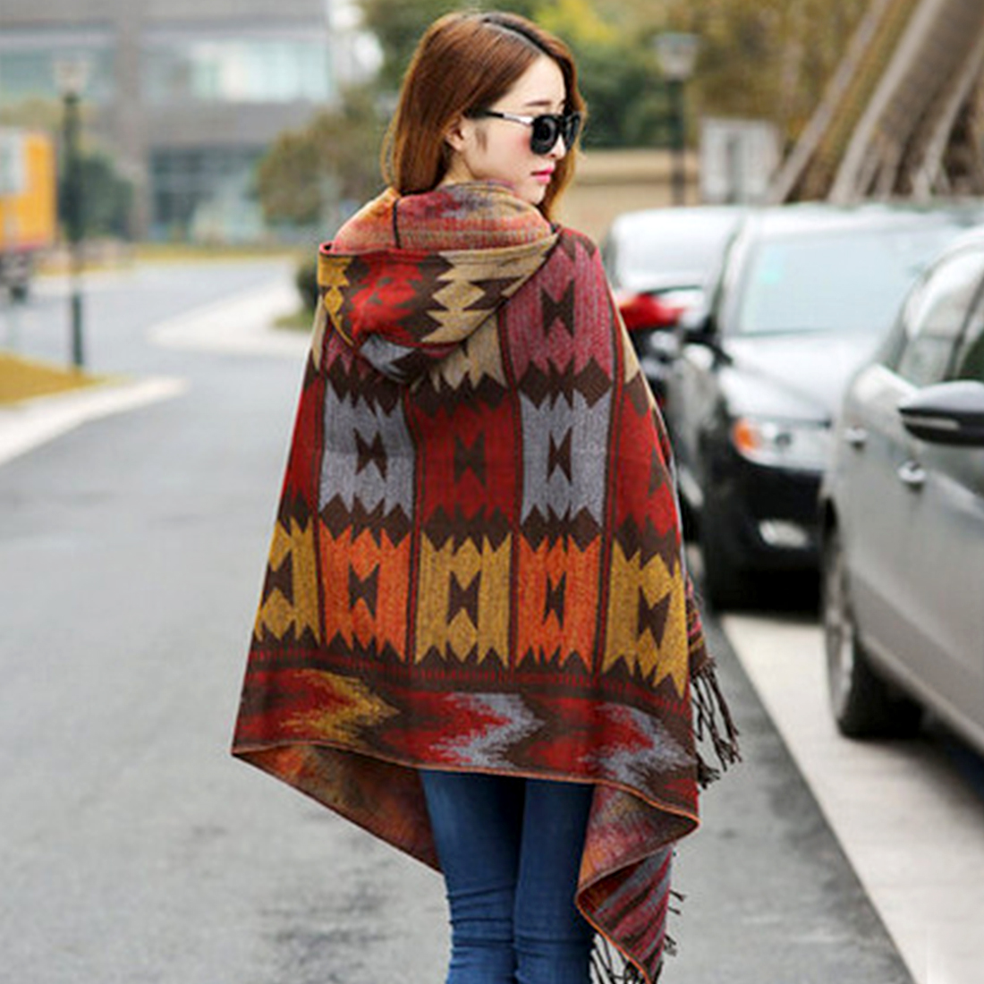 Fashion Women Winter Poncho Ethnic Printed Oodie Cape  Acrylic Wool Shawl Scarf Ladies Sweater Fringe Hooded