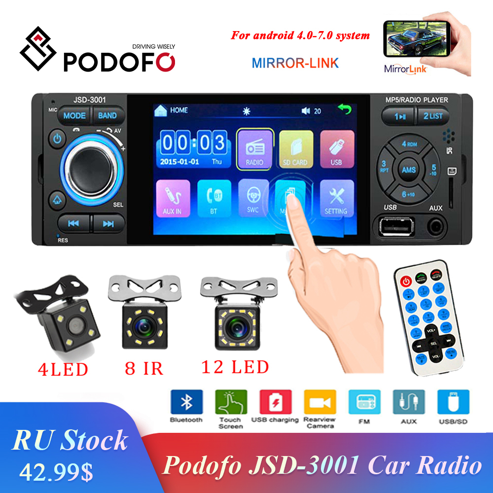 Podofo Car Radio 1din Jsd-3001 Autoradio 4 Inch Touch Screen Audio Mirror Link Stereo Bluetooth Rear View Camera Usb Aux Player