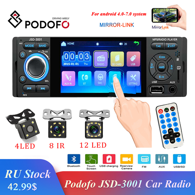 Podofo Autoradio 1Din Car Radio JSD 3001 4.1 MP5 Car Player Touch Screen Car Stereo Bluetooth 1Din Auto Radio Camera Mirror Link