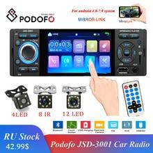 Podofo Autoradio 1Din 자동차 라디오 JSD 3001 4.1 MP5 자동차 플레이어 터치 스크린 자동차 스테레오 블루투스 1Din 자동 라디오 카메라 미러 링크