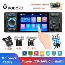 Podofo Autoradio 1Din araba radyo JSD 3001 4.1 MP5 araba oyuncu dokunmatik ekranı araba Stereo Bluetooth 1Din otomobil radyosu kamera ayna bağlantı
