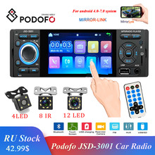 Podofo Car Radio 1din jsd-3001 autoradio 4 inch Touch Screen Audio Mirror Link Stereo Bluetooth Rear View Camera usb aux Player(China)
