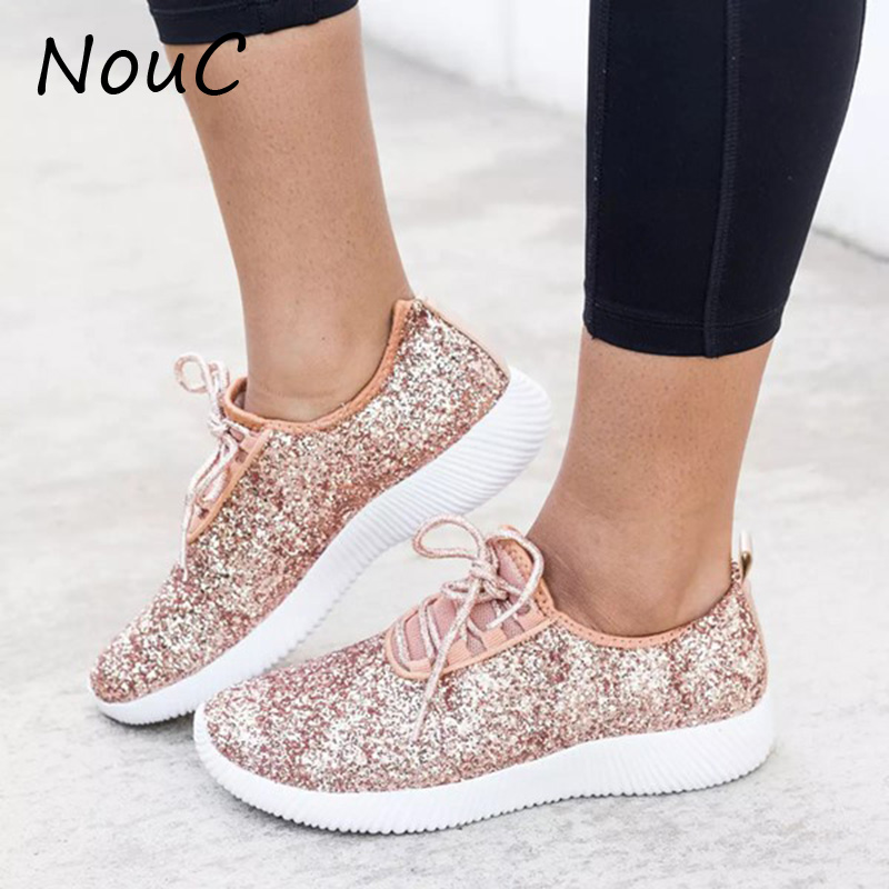 NouC Vulcanized Shoes Women Casual Shoes Women Glitter Sneakers Bling White Sneakers Lace-up Sparkly Shoes Zapatos Mujer 2020