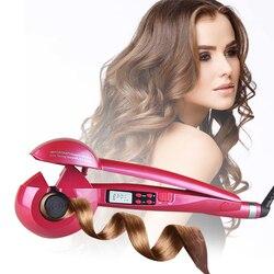 Modelador de cabelo automático magia curling iron display lcd ferramentas de estilo de cabelo onda modelador de cabelo aquecimento cerâmico anti-perm