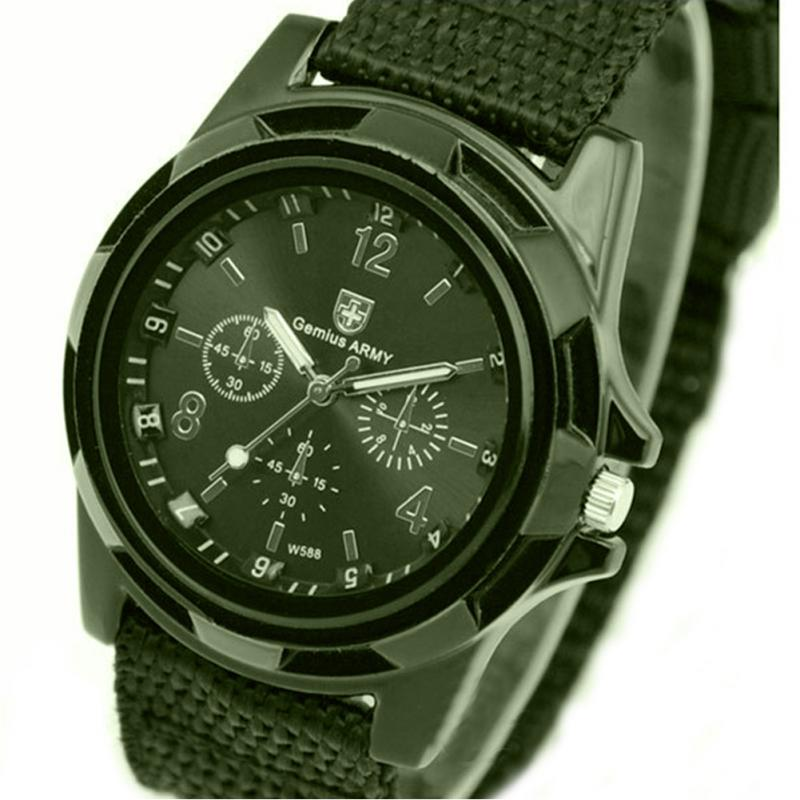 Men Fashion Wristwatch Military Army Soldier Watch Men 's Sport Style Canvas Belt Quartz Wrist Watch For Male Solid Color