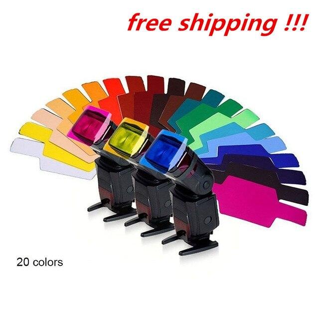 20 צבעים/חבילה פלאש Speedlite צבע מסנני כרטיסי עבור Canon עבור ניקון מצלמה צילום סינון ג לי פלאש מבזק